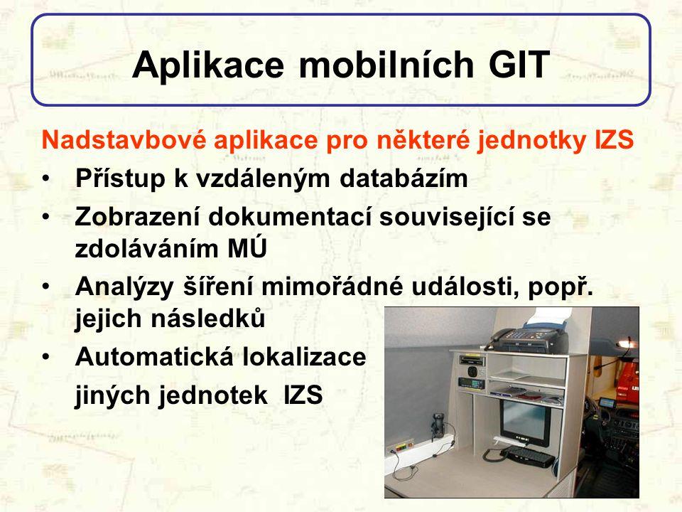 Aplikace mobilních GIT Nadstavbové aplikace pro některé jednotky IZS Přístup k vzdáleným databázím Zobrazení dokumentací související se zdoláváním MÚ
