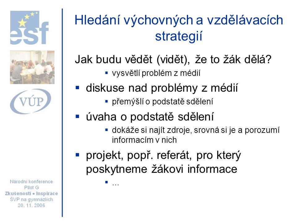 Hledání výchovných a vzdělávacích strategií Jak budu vědět (vidět), že to žák dělá?  vysvětlí problém z médií  diskuse nad problémy z médií  přemýš