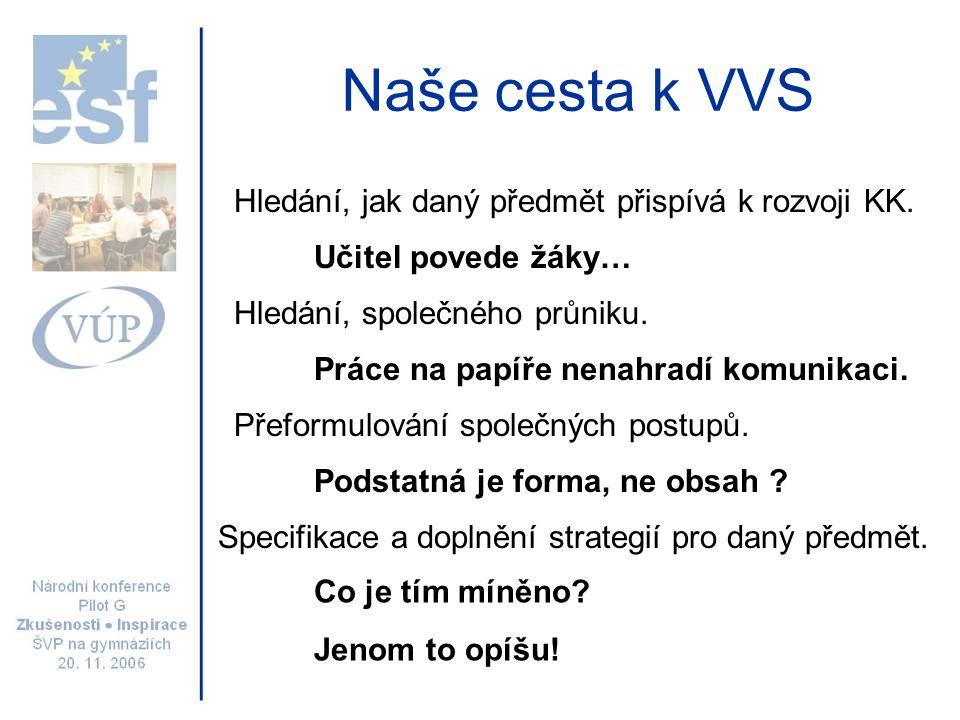 Naše cesta k VVS Hledání, jak daný předmět přispívá k rozvoji KK. Hledání, společného průniku. Přeformulování společných postupů. Učitel povede žáky…