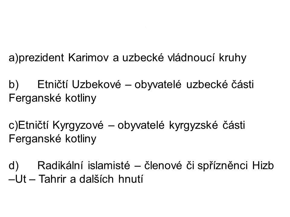 .. a)prezident Karimov a uzbecké vládnoucí kruhy b) Etničtí Uzbekové – obyvatelé uzbecké části Ferganské kotliny c)Etničtí Kyrgyzové – obyvatelé kyrgy