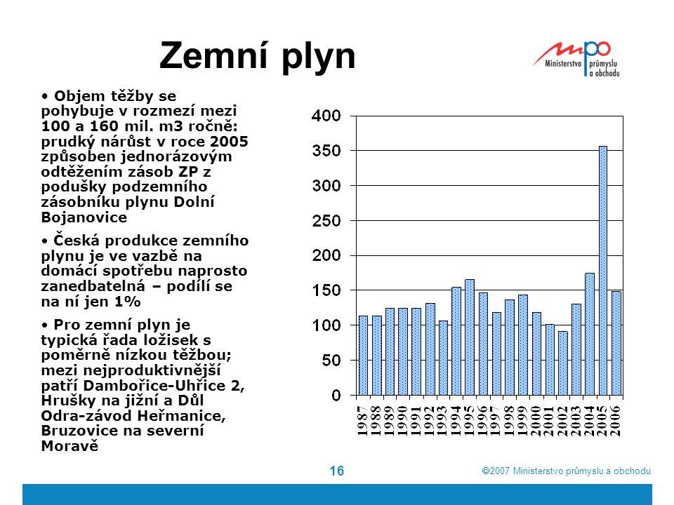  2007  Ministerstvo průmyslu a obchodu 16 Zemní plyn Objem těžby se pohybuje v rozmezí mezi 100 a 160 mil. m3 ročně: prudký nárůst v roce 2005 způs