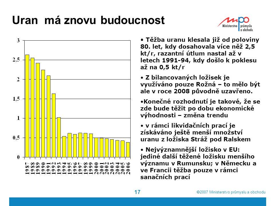  2007  Ministerstvo průmyslu a obchodu 17 Uran má znovu budoucnost Těžba uranu klesala již od poloviny 80. let, kdy dosahovala více něž 2,5 kt/r, r