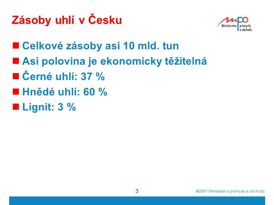  2007  Ministerstvo průmyslu a obchodu Zásoby uhlí v Česku Celkové zásoby asi 10 mld. tun Asi polovina je ekonomicky těžitelná Černé uhlí: 37 % Hně