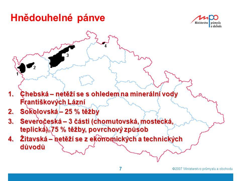 Hnědouhelné pánve 7 1.Chebská – netěží se s ohledem na minerální vody Františkových Lázní 2.Sokolovská – 25 % těžby 3.Severočeská – 3 části (chomutovs