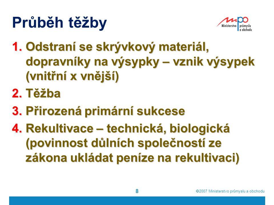  2007  Ministerstvo průmyslu a obchodu Průběh těžby 8 1.Odstraní se skrývkový materiál, dopravníky na výsypky – vznik výsypek (vnitřní x vnější) 2.