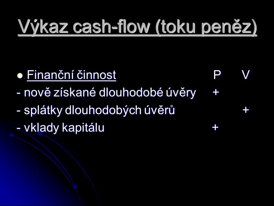 Výkaz cash-flow (toku peněz) Finanční činnost P V Finanční činnost P V - nově získané dlouhodobé úvěry + - splátky dlouhodobých úvěrů + - vklady kapit