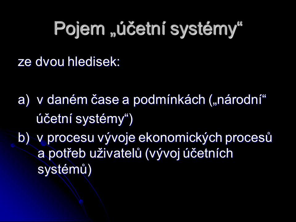 """Pojem """"účetní systémy"""" ze dvou hledisek: a) v daném čase a podmínkách (""""národní"""" účetní systémy"""") účetní systémy"""") b) v procesu vývoje ekonomických pr"""