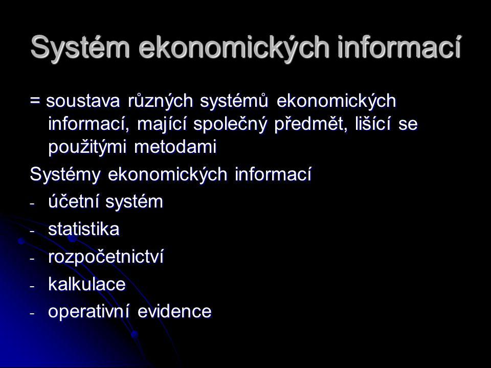 Systém ekonomických informací = soustava různých systémů ekonomických informací, mající společný předmět, lišící se použitými metodami Systémy ekonomi