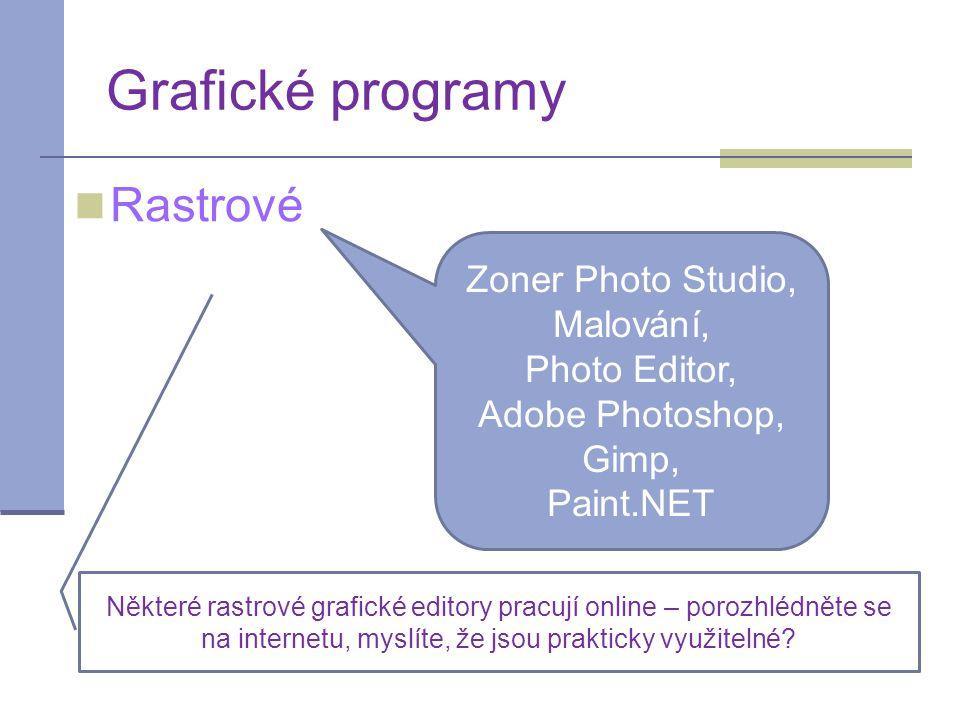 Grafické programy Rastrové Zoner Photo Studio, Malování, Photo Editor, Adobe Photoshop, Gimp, Paint.NET Některé rastrové grafické editory pracují online – porozhlédněte se na internetu, myslíte, že jsou prakticky využitelné