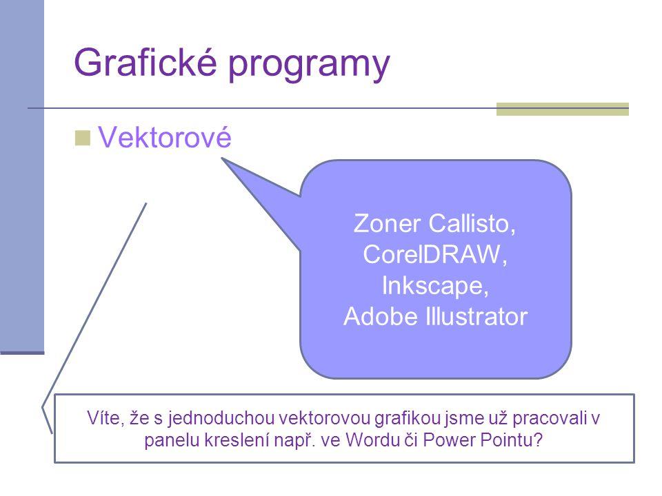 Vektorové Grafické programy Zoner Callisto, CorelDRAW, Inkscape, Adobe Illustrator Víte, že s jednoduchou vektorovou grafikou jsme už pracovali v panelu kreslení např.