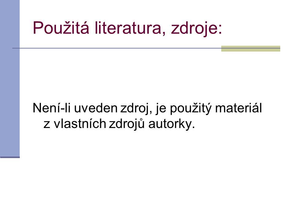 Použitá literatura, zdroje: Není-li uveden zdroj, je použitý materiál z vlastních zdrojů autorky.