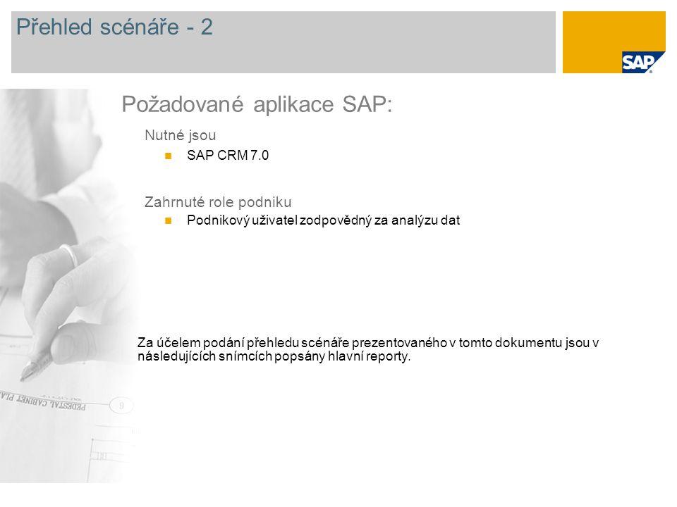 Přehled scénáře - 2 Nutné jsou SAP CRM 7.0 Zahrnuté role podniku Podnikový uživatel zodpovědný za analýzu dat Požadované aplikace SAP: Za účelem podání přehledu scénáře prezentovaného v tomto dokumentu jsou v následujících snímcích popsány hlavní reporty.