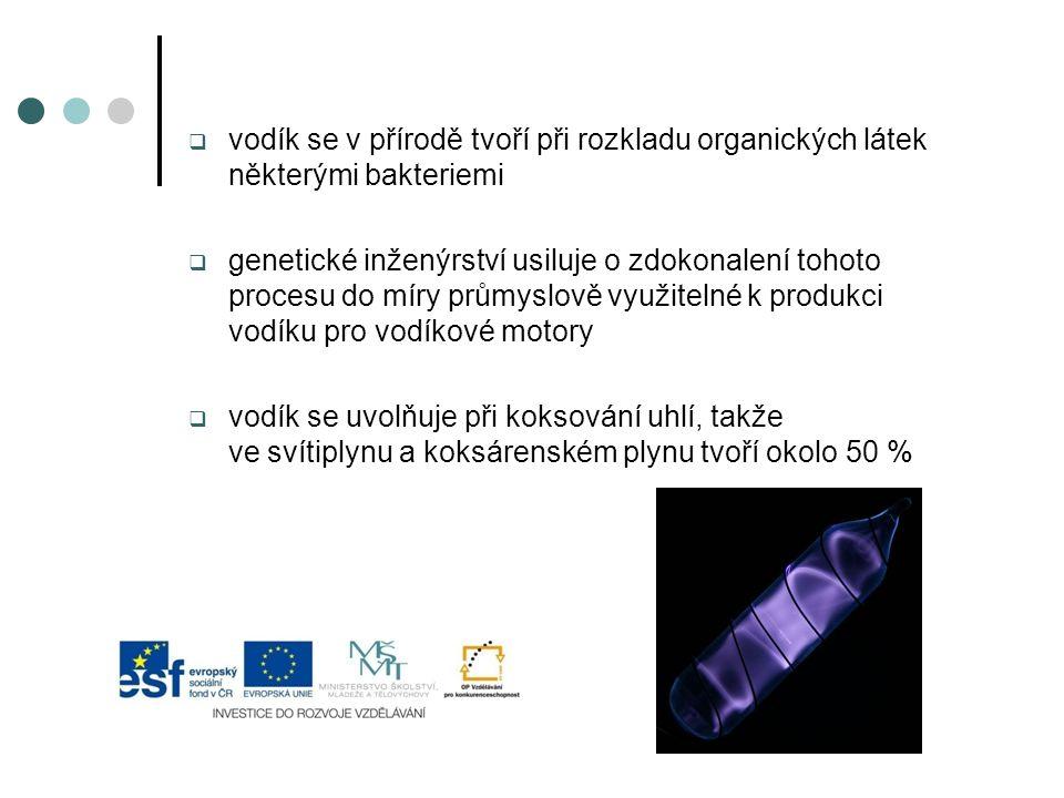  vodík se v přírodě tvoří při rozkladu organických látek některými bakteriemi  genetické inženýrství usiluje o zdokonalení tohoto procesu do míry pr