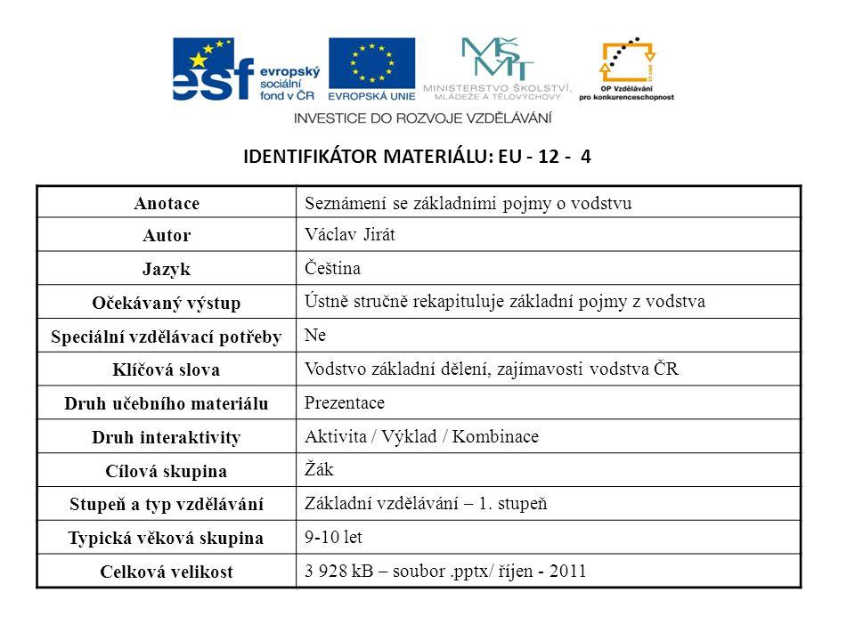 IDENTIFIKÁTOR MATERIÁLU: EU - 12 - 4 AnotaceSeznámení se základními pojmy o vodstvu Autor Václav Jirát Jazyk Čeština Očekávaný výstup Ústně stručně re