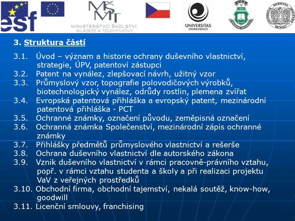 3. Struktura částí 3.1. Úvod – význam a historie ochrany duševního vlastnictví, strategie, ÚPV, patentoví zástupci 3.2. Patent na vynález, zlepšovací
