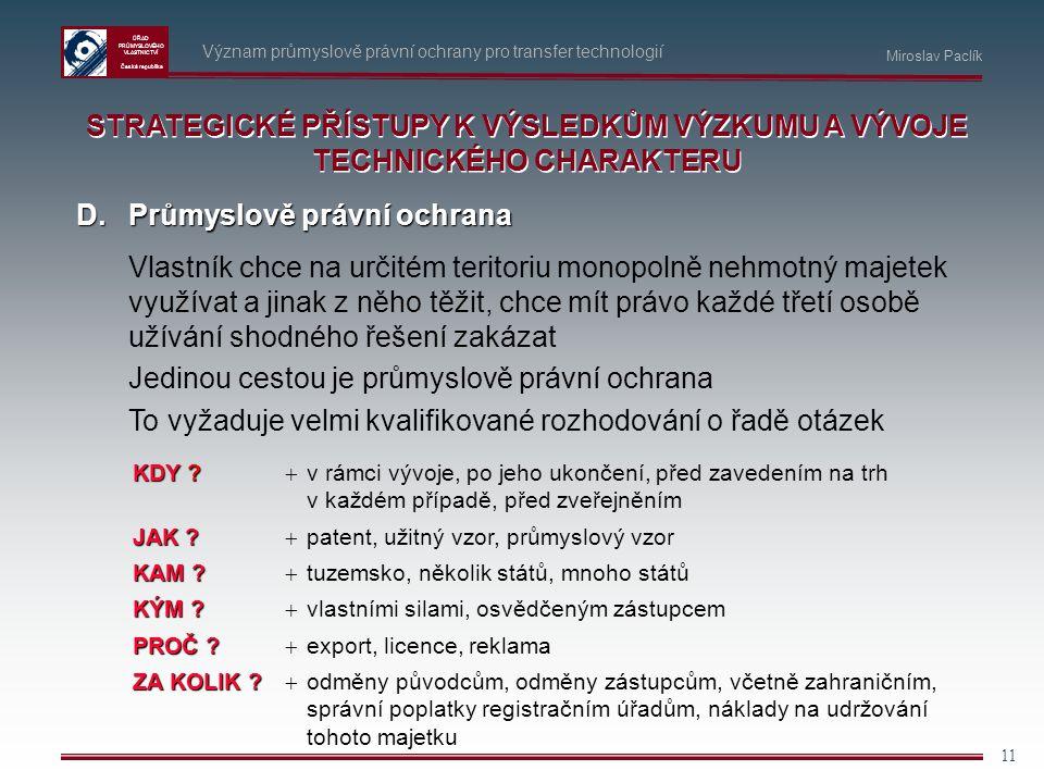 ÚŘAD PRŮMYSLOVÉHO VLASTNICTVÍ Česká republika 11 Význam průmyslově právní ochrany pro transfer technologií D.Průmyslově právní ochrana Vlastník chce n