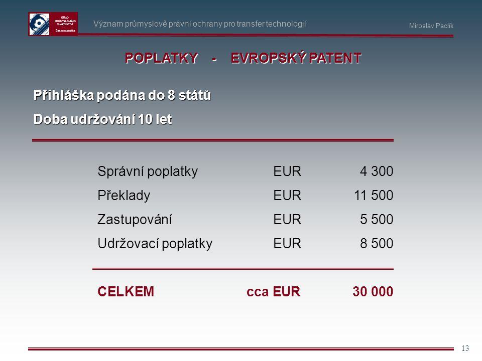 ÚŘAD PRŮMYSLOVÉHO VLASTNICTVÍ Česká republika 13 Význam průmyslově právní ochrany pro transfer technologií POPLATKY - EVROPSKÝ PATENT Přihláška podána