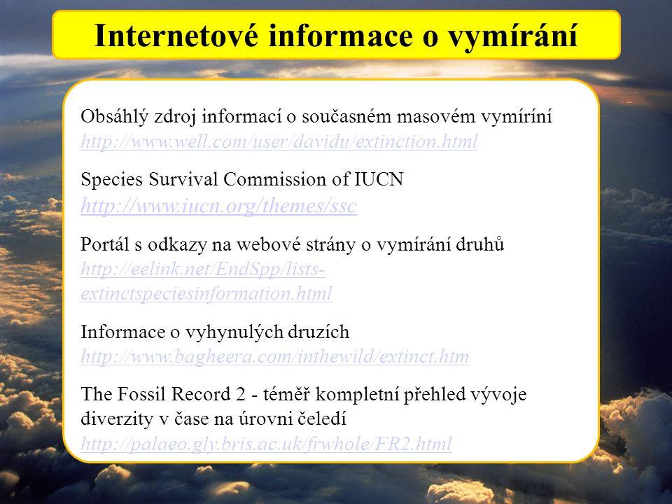 Internetové informace o vymírání Obsáhlý zdroj informací o současném masovém vymíríní http://www.well.com/user/davidu/extinction.html Species Survival