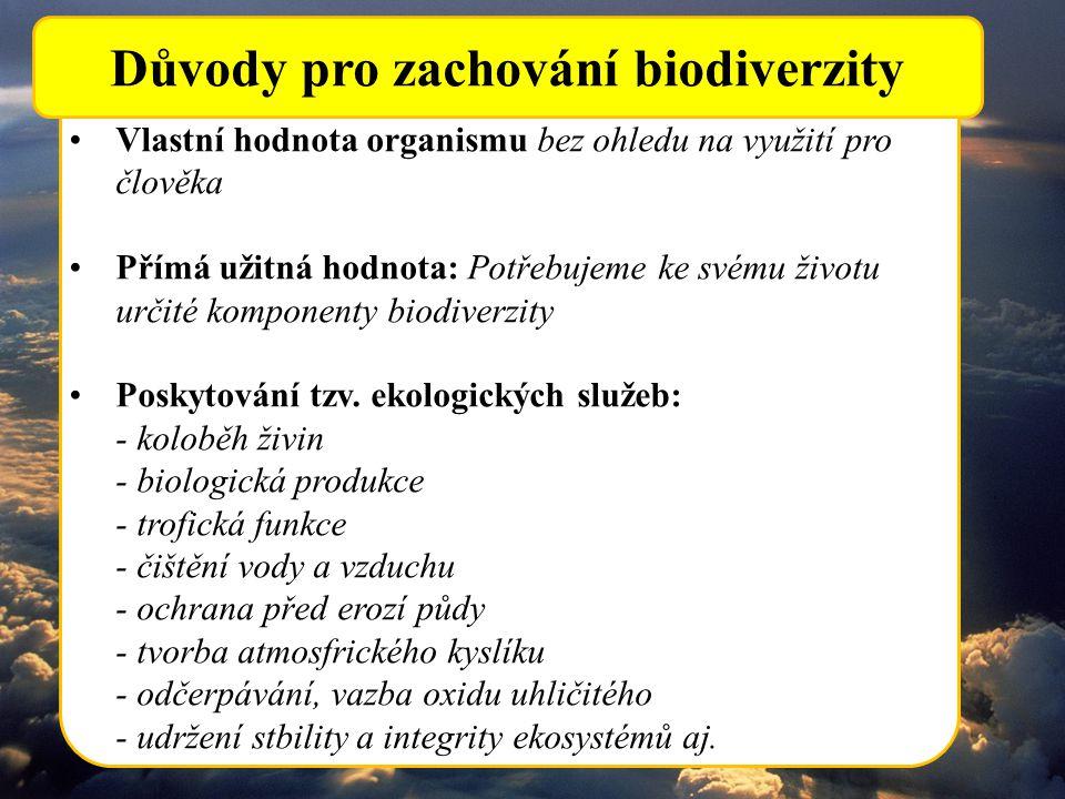 Vlastní hodnota organismu bez ohledu na využití pro člověka Přímá užitná hodnota: Potřebujeme ke svému životu určité komponenty biodiverzity Poskytová