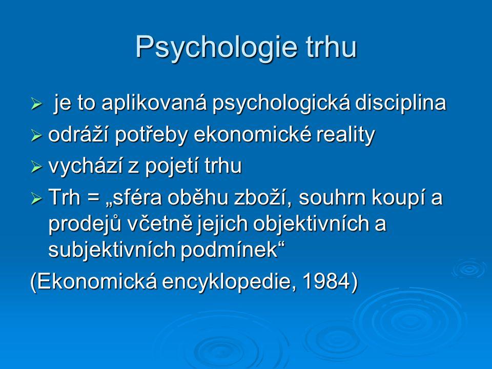 """ je to aplikovaná psychologická disciplina  odráží potřeby ekonomické reality  vychází z pojetí trhu  Trh = """"sféra oběhu zboží, souhrn koupí a pro"""