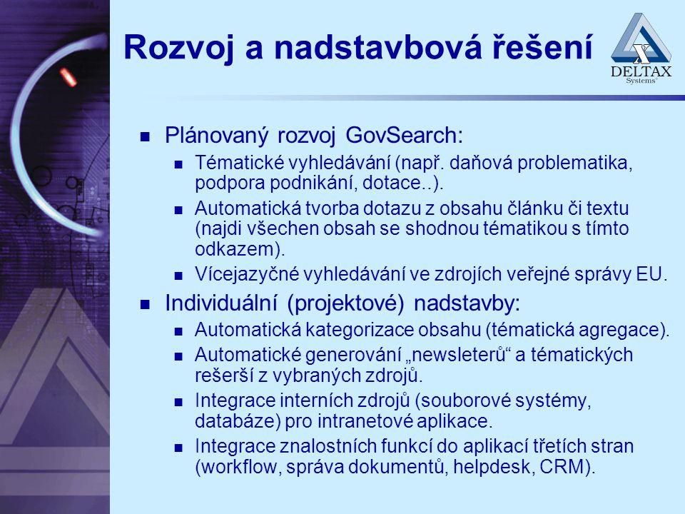 Rozvoj a nadstavbová řešení Plánovaný rozvoj GovSearch: Tématické vyhledávání (např. daňová problematika, podpora podnikání, dotace..). Automatická tv