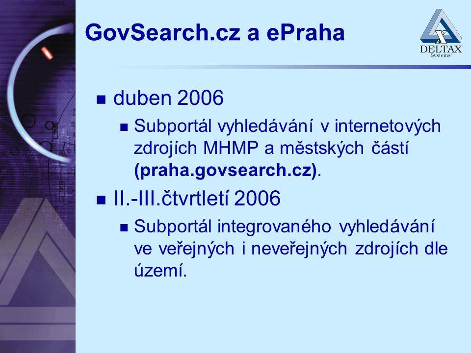 GovSearch.cz a ePraha duben 2006 Subportál vyhledávání v internetových zdrojích MHMP a městských částí (praha.govsearch.cz). II.-III.čtvrtletí 2006 Su