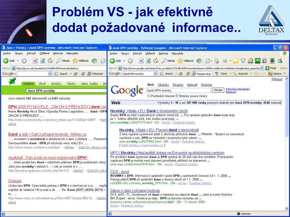 Problém VS - jak efektivně dodat požadované informace..