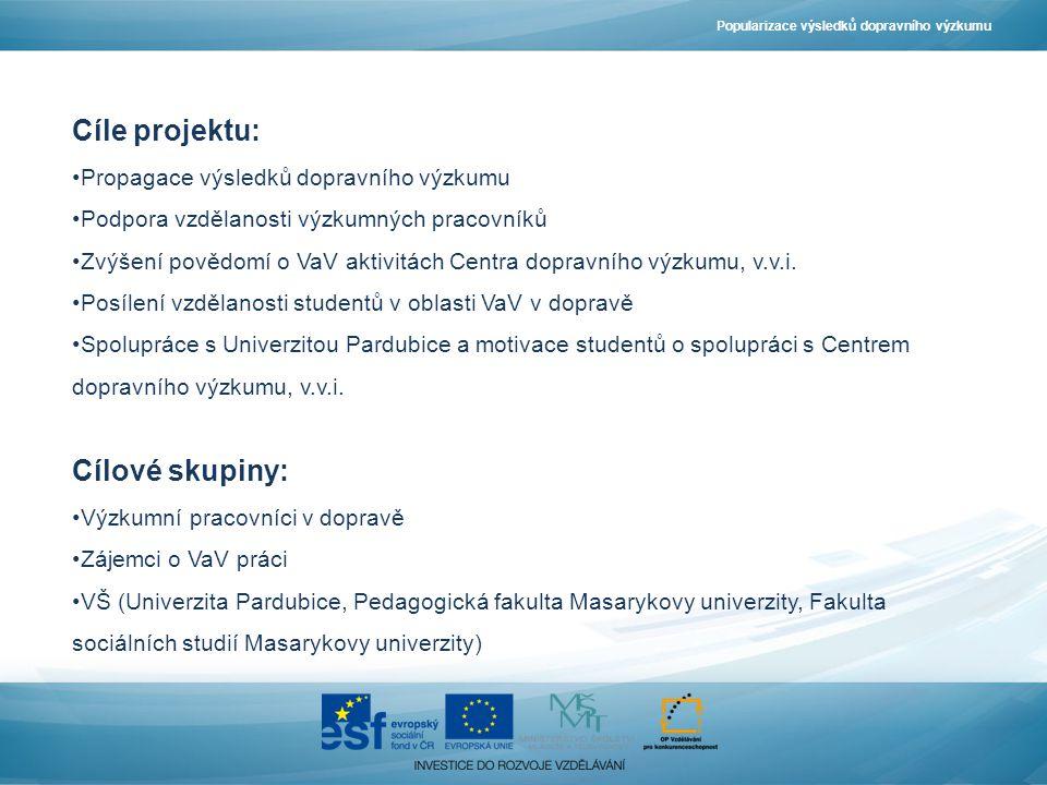 Cíle projektu: Propagace výsledků dopravního výzkumu Podpora vzdělanosti výzkumných pracovníků Zvýšení povědomí o VaV aktivitách Centra dopravního výzkumu, v.v.i.