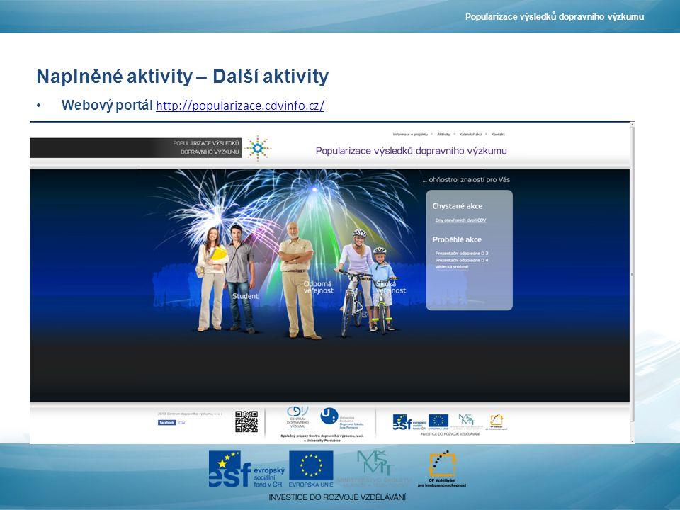 Naplněné aktivity – Další aktivity Webový portál http://popularizace.cdvinfo.cz/ http://popularizace.cdvinfo.cz/ Popularizace výsledků dopravního výzkumu