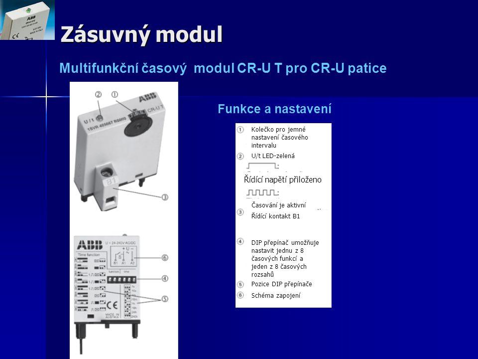 Zásuvný modul Multifunkční časový modul CR-U T pro CR-U patice Funkce a nastavení Kolečko pro jemné nastavení časového intervalu U/t LED-zelená Řídící
