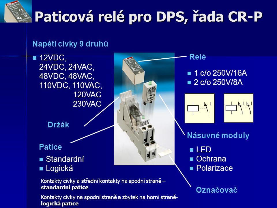 Paticová relé pro DPS, řada CR-P Napětí cívky 9 druhů 12VDC, 24VDC, 24VAC, 48VDC, 48VAC, 110VDC, 110VAC, 120VAC 230VAC Relé 1 c/o 250V/16A 2 c/o 250V/