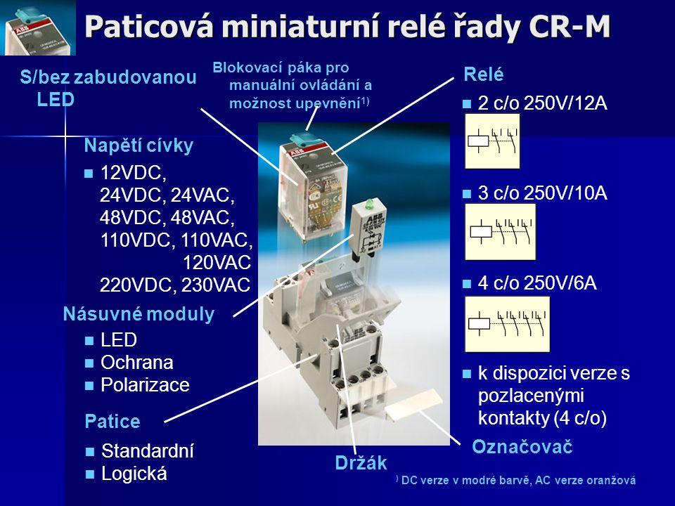 Paticová miniaturní relé řady CR-M Napětí cívky Relé 2 c/o 250V/12A 3 c/o 250V/10A 4 c/o 250V/6A k dispozici verze s pozlacenými kontakty (4 c/o) Pati