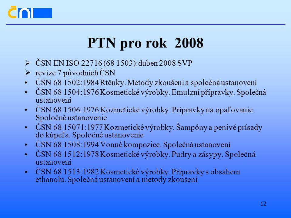 12 PTN pro rok 2008  ČSN EN ISO 22716 (68 1503):duben 2008 SVP  revize 7 původních ČSN ČSN 68 1502:1984 Rtěnky.