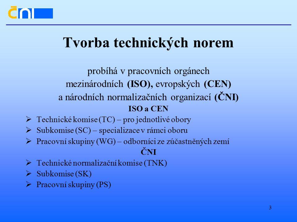 3 Tvorba technických norem probíhá v pracovních orgánech mezinárodních (ISO), evropských (CEN) a národních normalizačních organizací (ČNI) ISO a CEN  Technické komise (TC) – pro jednotlivé obory  Subkomise (SC) – specializace v rámci oboru  Pracovní skupiny (WG) – odborníci ze zúčastněných zemí ČNI  Technické normalizační komise (TNK)  Subkomise (SK)  Pracovní skupiny (PS)