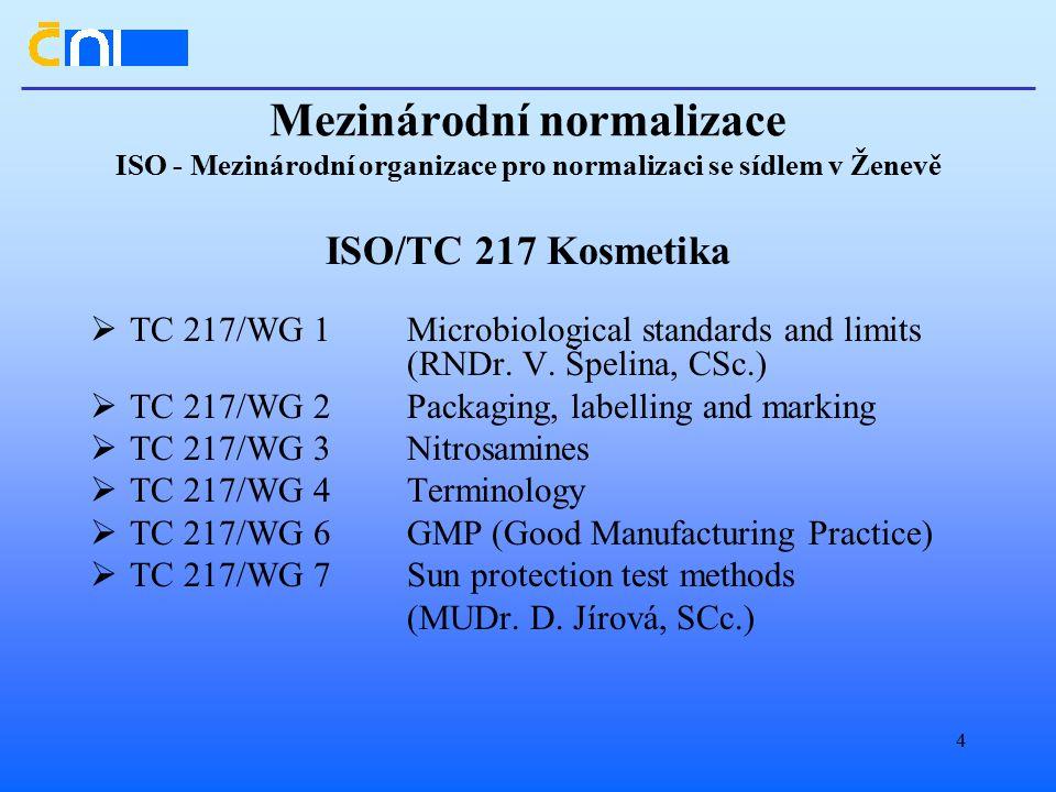 4 Mezinárodní normalizace ISO - Mezinárodní organizace pro normalizaci se sídlem v Ženevě ISO/TC 217 Kosmetika  TC 217/WG 1Microbiological standards and limits (RNDr.