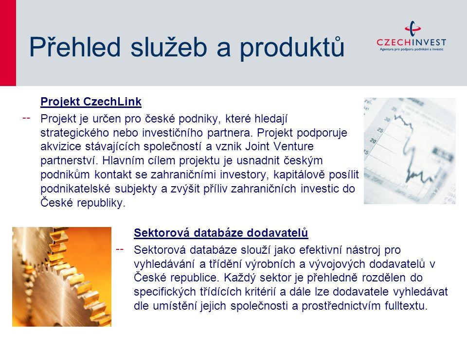 Přehled služeb a produktů Projekt CzechLink ╌ Projekt je určen pro české podniky, které hledají strategického nebo investičního partnera.