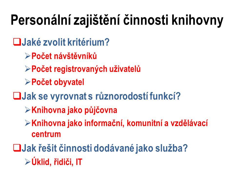 Personální zajištění činnosti knihovny  Jaké zvolit kritérium.