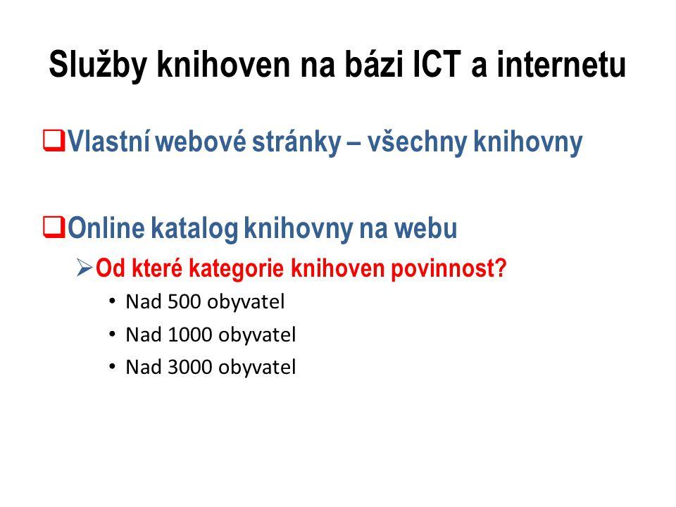 Služby knihoven na bázi ICT a internetu  Vlastní webové stránky – všechny knihovny  Online katalog knihovny na webu  Od které kategorie knihoven povinnost.