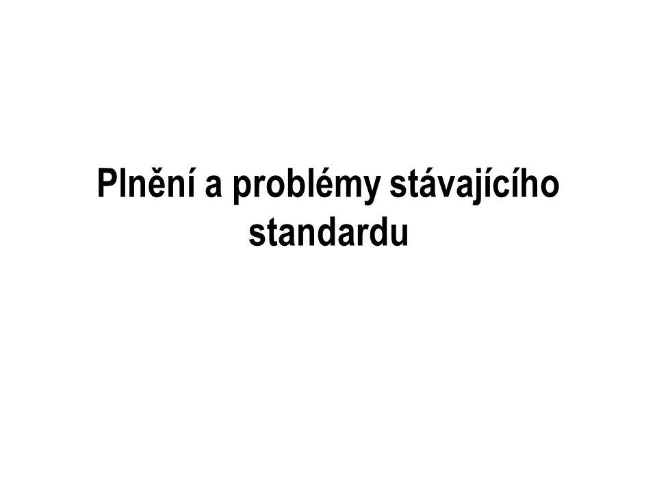 Plnění a problémy stávajícího standardu