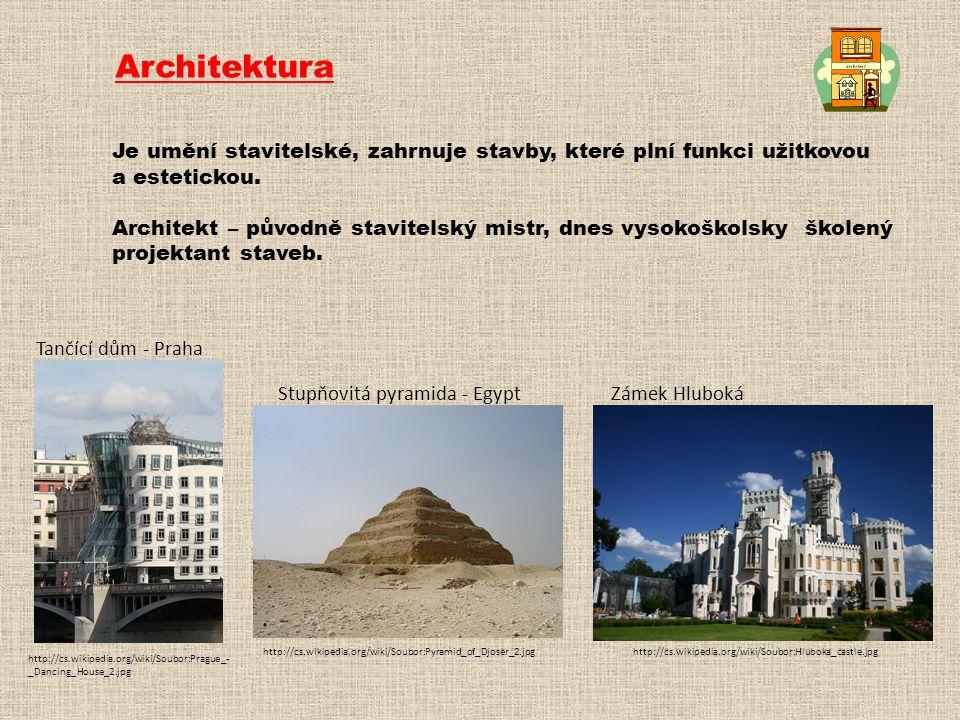 Architektura Je umění stavitelské, zahrnuje stavby, které plní funkci užitkovou a estetickou. Architekt – původně stavitelský mistr, dnes vysokoškolsk