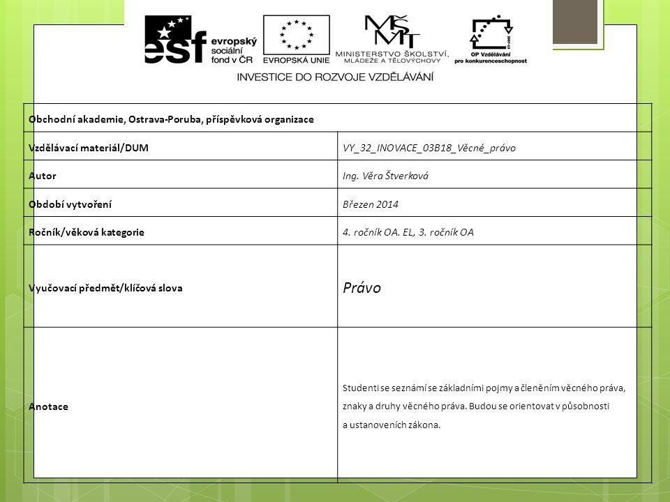 Obchodní akademie, Ostrava-Poruba, příspěvková organizace Vzdělávací materiál/DUMVY_32_INOVACE_03B18_Věcné_právo AutorIng. Věra Štverková Období vytvo