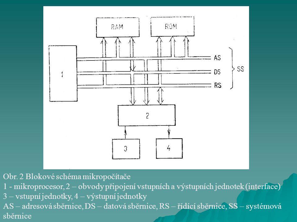 Obr. 2 Blokové schéma mikropočítače 1 - mikroprocesor, 2 – obvody připojení vstupních a výstupních jednotek (interface) 3 – vstupní jednotky, 4 – výst