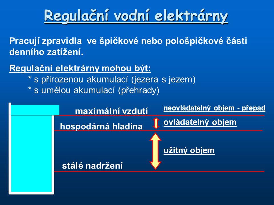 Regulační vodní elektrárny Pracují zpravidla ve špičkové nebo pološpičkové části denního zatížení. Regulační elektrárny mohou být: * s přirozenou akum