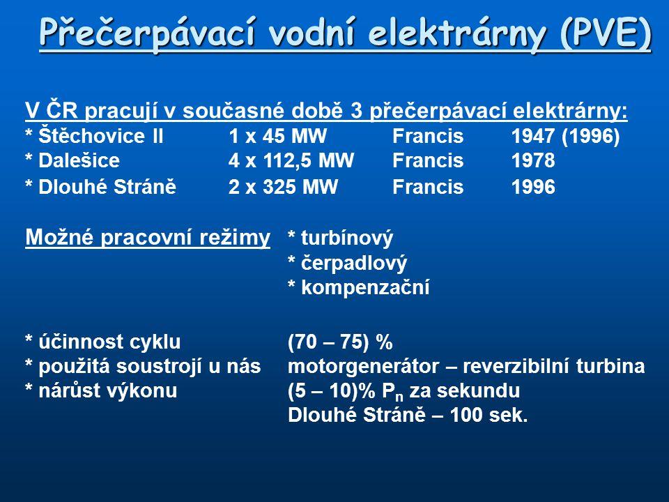 Přečerpávací vodní elektrárny (PVE) V ČR pracují v současné době 3 přečerpávací elektrárny: * Štěchovice II 1 x 45 MWFrancis1947 (1996) * Dalešice4 x