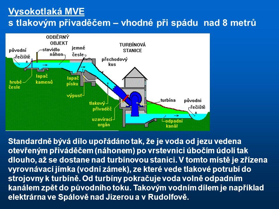 Standardně bývá dílo upořádáno tak, že je voda od jezu vedena otevřeným přiváděčem (náhonem) po vrstevnici úbočím údolí tak dlouho, až se dostane nad