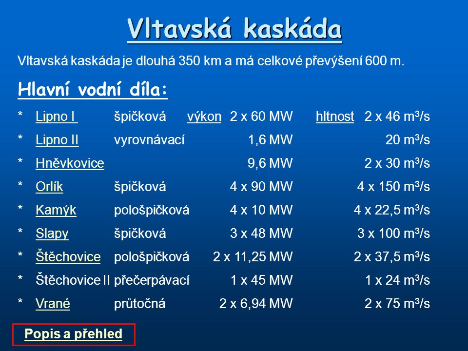 Vltavská kaskáda Vltavská kaskáda je dlouhá 350 km a má celkové převýšení 600 m. Hlavní vodní díla: *Lipno I špičkovávýkon 2 x 60 MWhltnost2 x 46 m 3