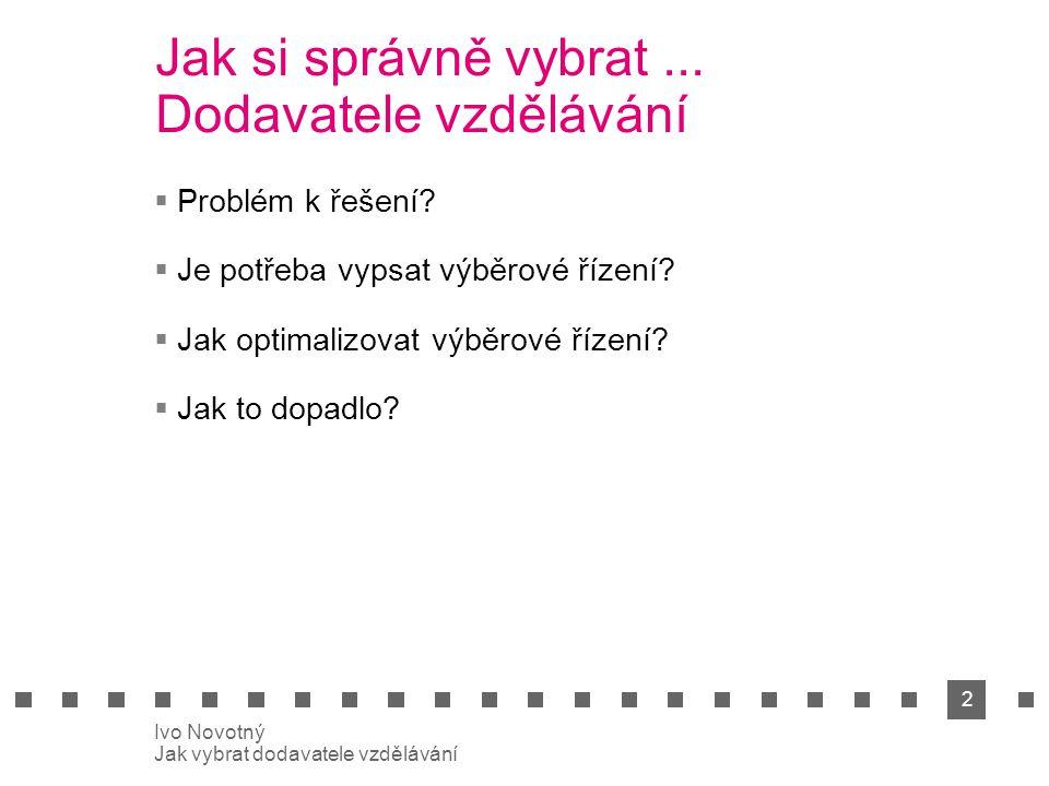 2 Ivo Novotný Jak vybrat dodavatele vzdělávání Jak si správně vybrat...