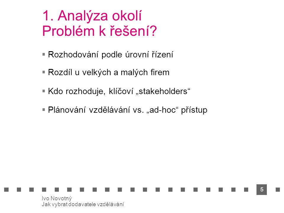 5 Ivo Novotný Jak vybrat dodavatele vzdělávání 1. Analýza okolí Problém k řešení.
