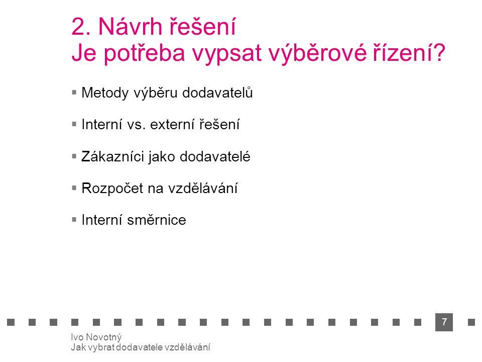 7 Ivo Novotný Jak vybrat dodavatele vzdělávání 2. Návrh řešení Je potřeba vypsat výběrové řízení.