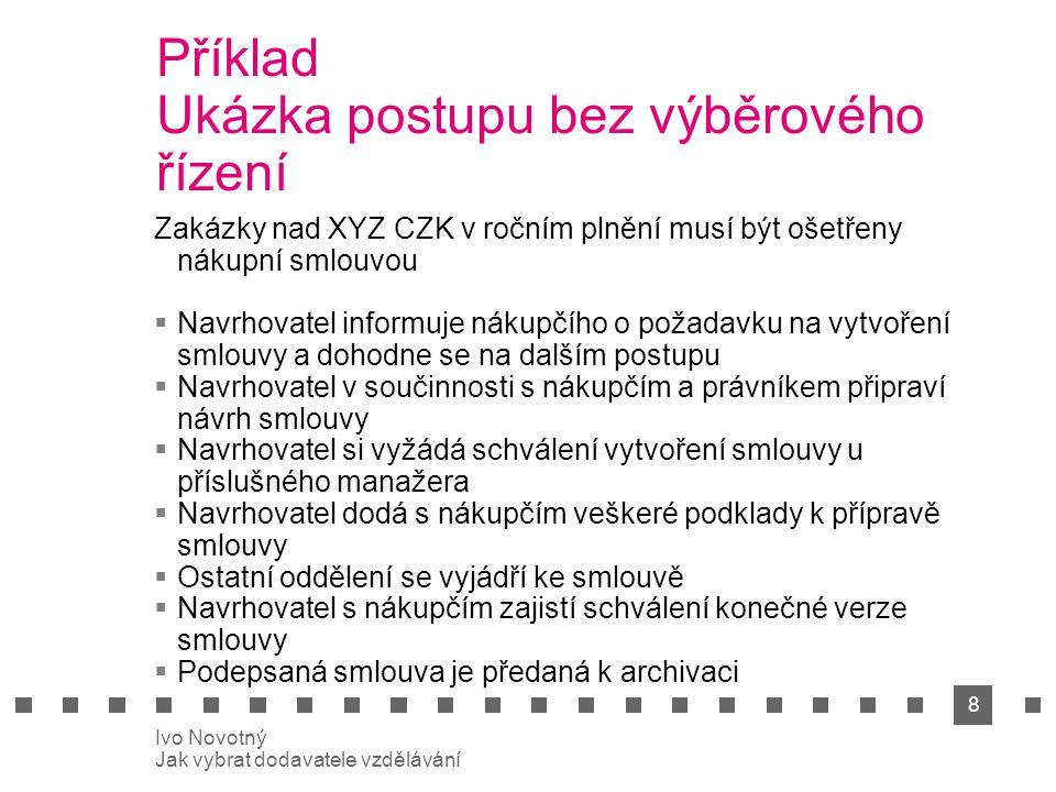 9 Ivo Novotný Jak vybrat dodavatele vzdělávání 3.Volba řešení Jak optimalizovat výběrové řízení.
